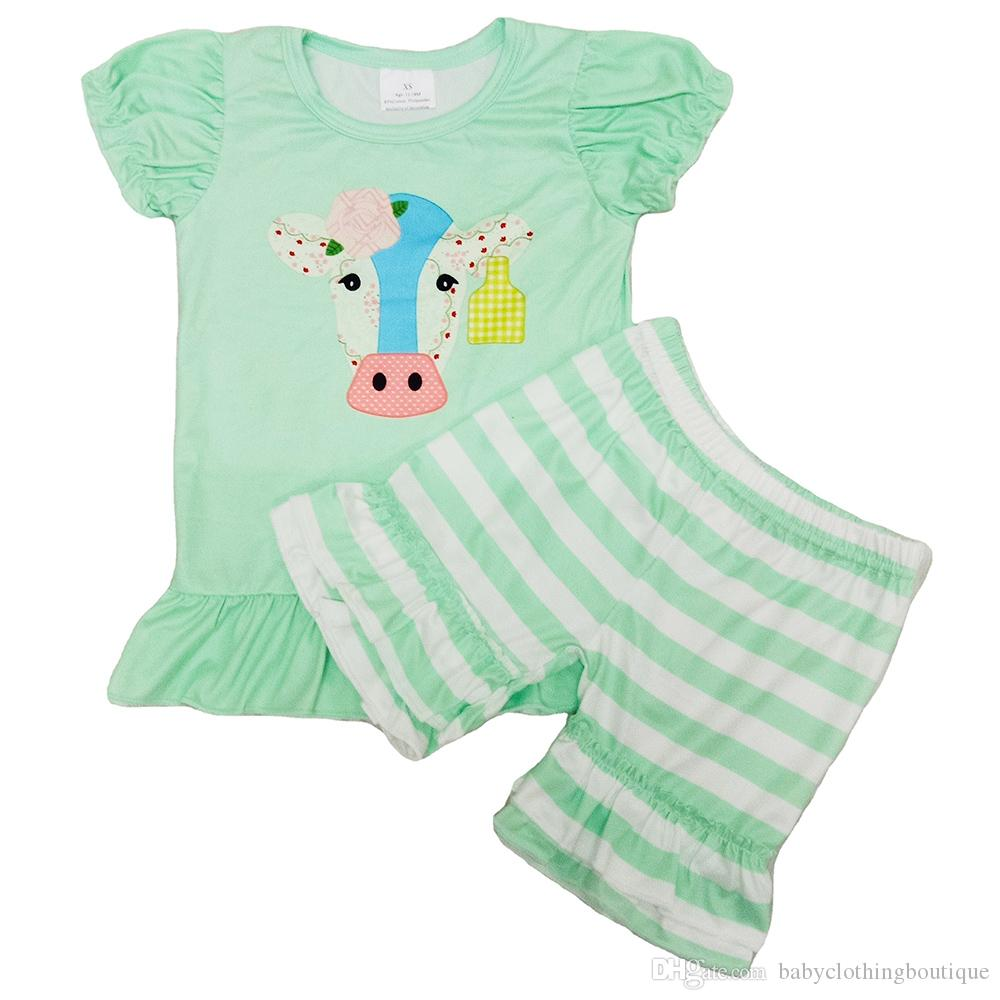 Toddler Girl Baby Clothes Set Fashion New Design Kids Boutique Clothing Milk Silk Short Sleeve Pants 2Pcs Outfits Summer Suit 2020 Hot Sale