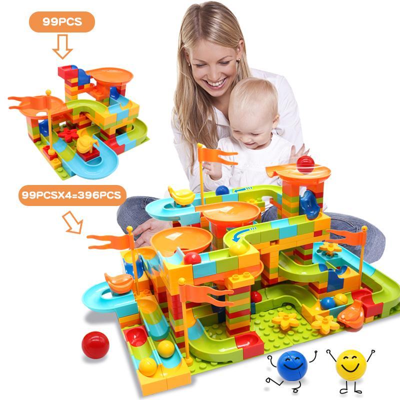 99-396PCS Big Size Blocks Marble Run Rennen Maze Ball unterstützte Duploed Bausteine Trichter Rutsche Spielzeug für Kinder-Kind-Geschenk CX200612