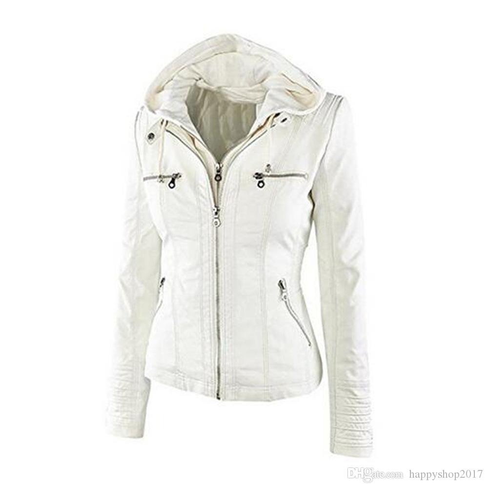 Новый женский Классический Zip-до капюшоном Кожезаменитель куртки