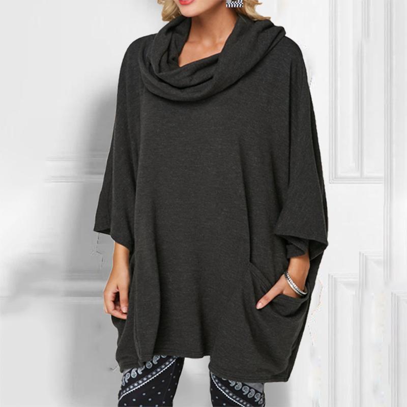 Женские свитера с капюшоном с карманным сплошной осенью зима с длинным рукавом женщин пуловер повседневная мода полиэстер дневные топы туника базовый