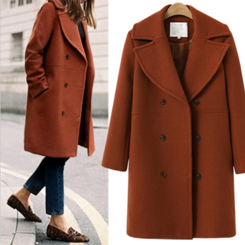 Hiver Manteau en laine et veste coréenne femmes Veste longue chaud élégant manteau de laine noire Trench coupe-vent Vintage Cape Femme