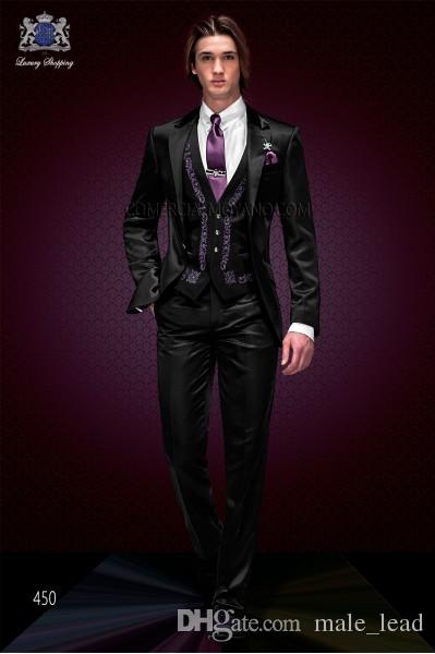 Broderie Mariée Tuxedos Peak Revers Groomsmen Hommes Robe De Mariée Homme Veste Blazer Dîner De Bal 3 Costume (Veste + Pantalon + Cravate + Gilet) A36