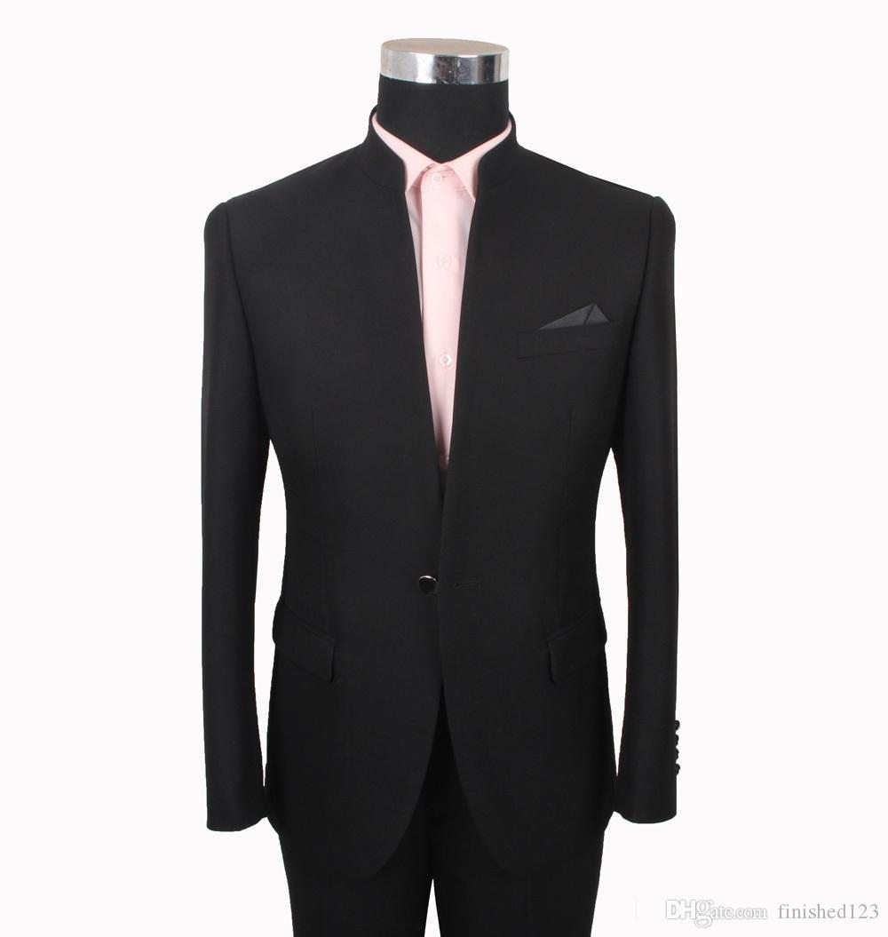 New Fashion One Button Black Groom Tuxedos Stand Collar Men Suits Wedding/Prom/Dinner Best Man Blazer (Jacket+Pants+Tie) W352