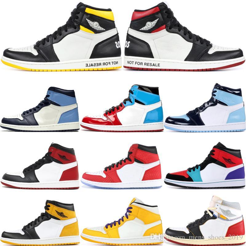 Mode non pour la revente 1s Chaussures de basket 1 Obsidian sans Peur ombre Toe Noir Cour Violet UNC Union Sneakers Top OG Sport taille 7-12