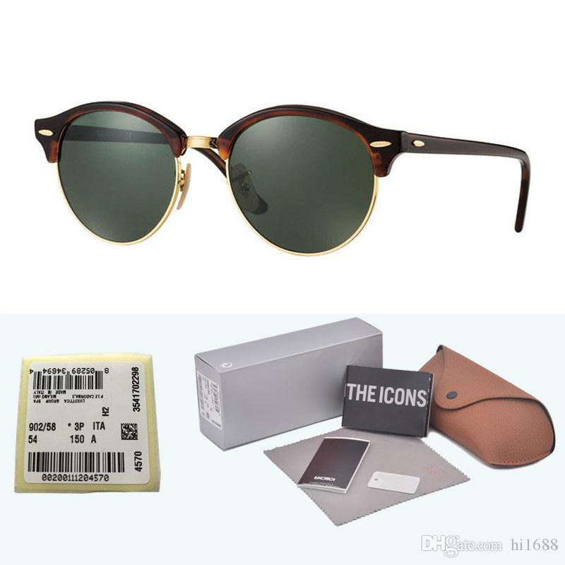 العلامة التجارية مصمم النظارات الشمسية المستديرة (عدسة زجاجية) خلات إطار نظارات الشمس الرجال النساء القيادة UV400 oculos سيد مع الحالات والتسمية
