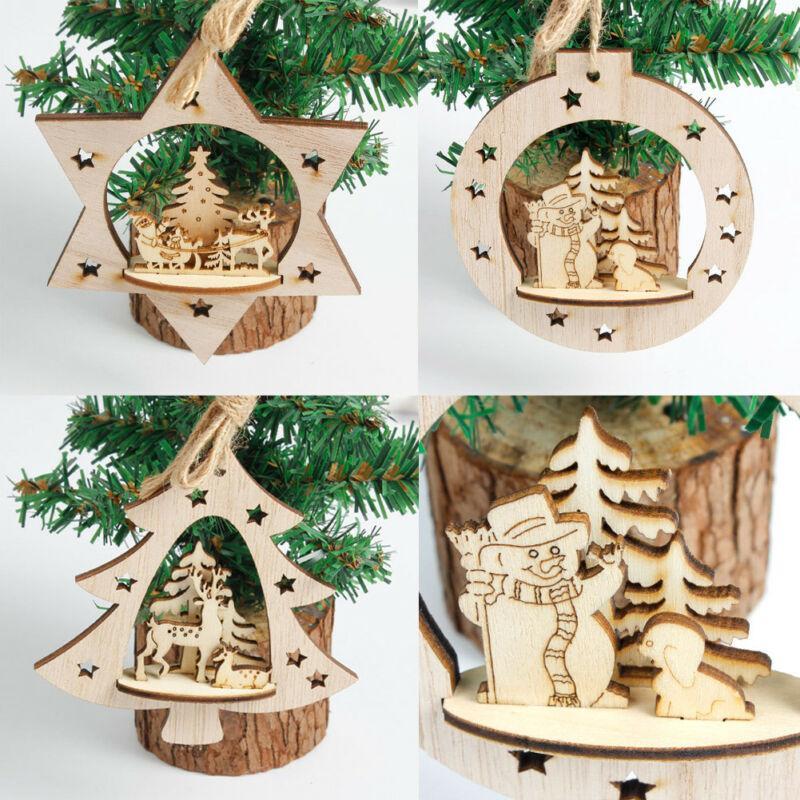 Albero di Natale in legno d'attaccatura della Santa Ornamento Decorazione di Natale a casa decorazione del partito di Natale 1Pc assortiti in legno Ornament Decor