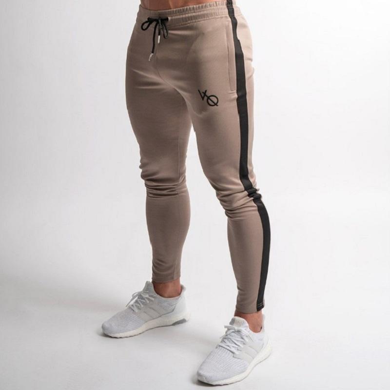 Grigio Pantaloni di tuta a strisce Pantaloni Uomo Sport matita Uomini Cotton Soft Bodybuilding Pantaloni palestra pantaloni correnti Collant esecuzione