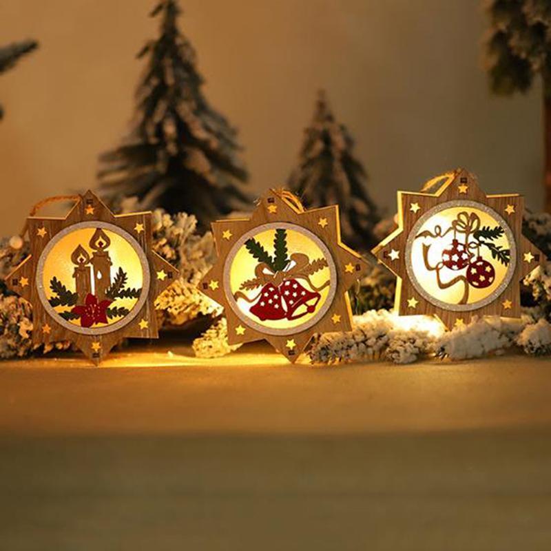 Decoração da árvore de Natal 1PC de madeira Forma de incandescência Ornamento da estrela redonda LED luminoso de Santa Snowman cervos pendurado pingente