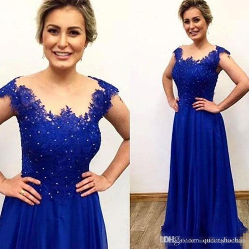 Royal Blue Vestidos largos para la madre Vestido modesto para la madre de la novia Grano escarpado con cuello Hombro perlas Apliques de encaje Vestido para el banquete de boda