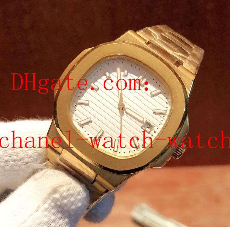 2 Luxury Style Data Mens Watche Nautilus oro giallo 18 carati quadrante nero 5711 / 1A-010 Asia meccanico automatico da uomo Orologi Trasparente Indietro
