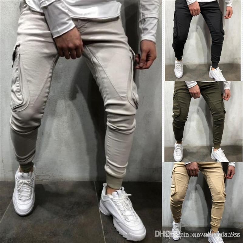 Tasarımcı Erkek Kalem Pantolon Moda Katı Renk Uzun Pantolon Gündelik Gevşek İpli Pantolon