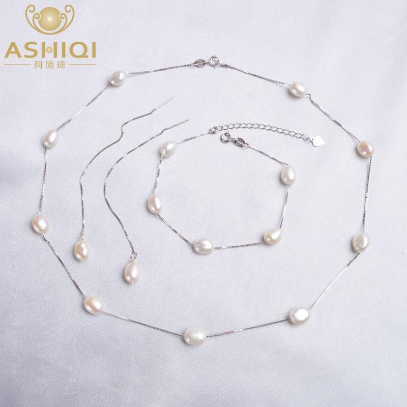 ASHIQI real 925 de agua dulce natural Sistemas de la joyería de perlas collar pendientes pulsera para las mujeres Moda 2020 Nueva T200613
