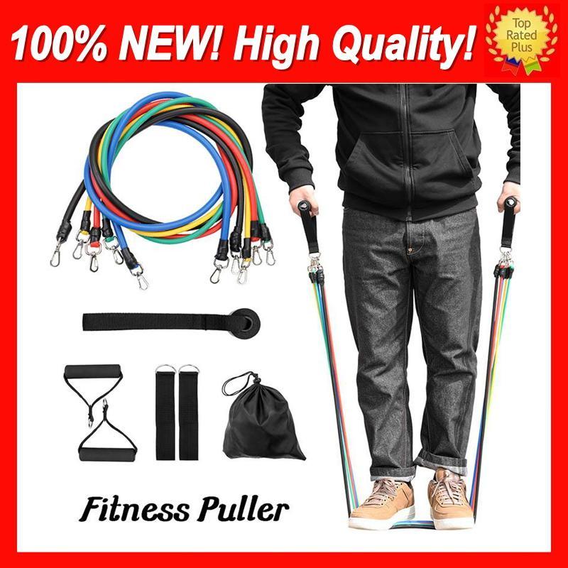11 pçs / conjunto de faixas de resistência definir treinamento exercício yoga tubo puxar corda de borracha expansão látex elástico bandas equipamentos de fitness pilates treino