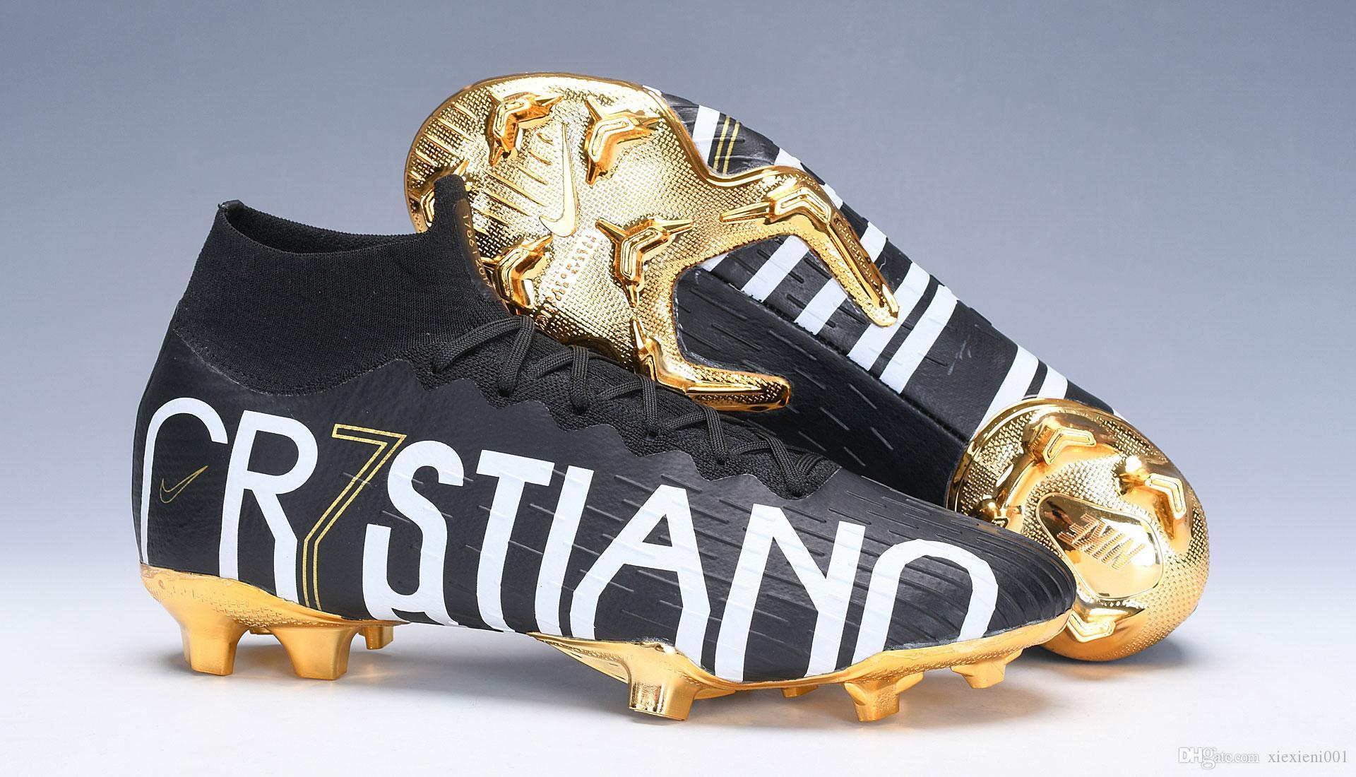 Original CR7 Children Soccer Cleats Mercurial Superfly VI 360 Elite Neymar Ronaldo FG CR7 Kids Soccer Shoes Ronaldo Womens Football Boots