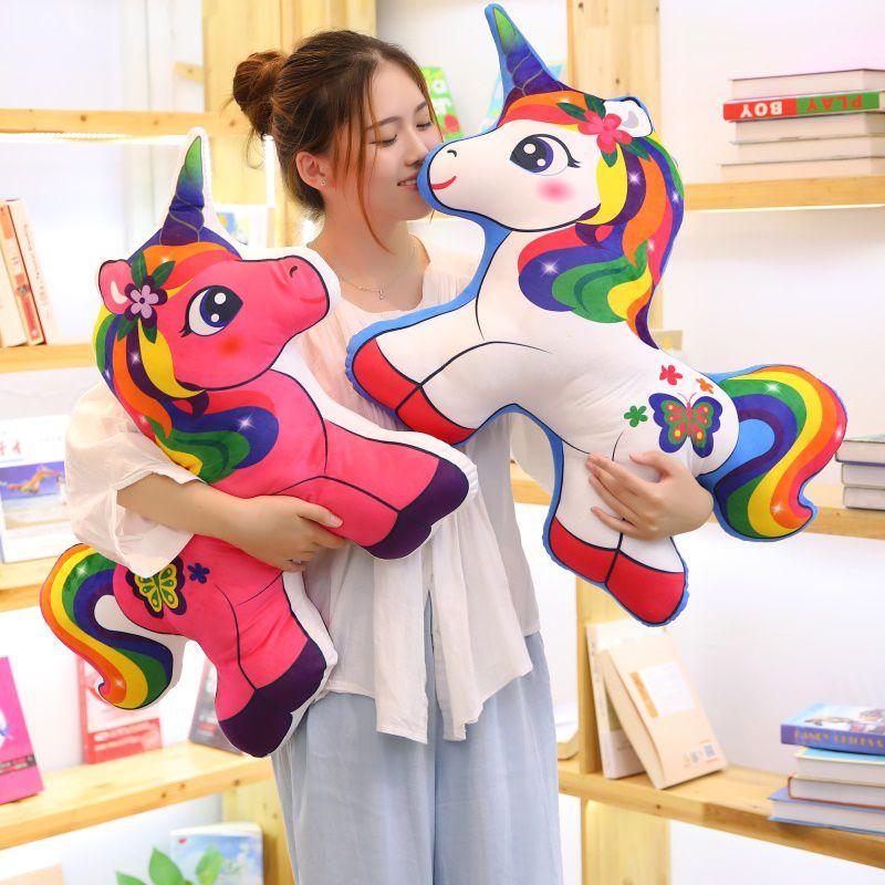 1Pcs 40-70cm Unicorn Rainbow Horse Pillow Plush Toy Sofa Cushion Children's Toys Baby Comfort Toys Children's Toys Home Decorat