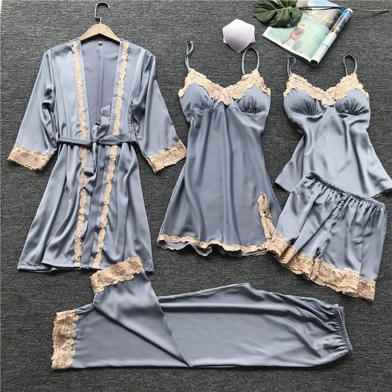Lisacmvpnel Estate Nuova sezione sottile 5 Pz Donne Pajama Set sexy in pizzo con rilievo della cassa della cinghia di spaghetti degli indumenti