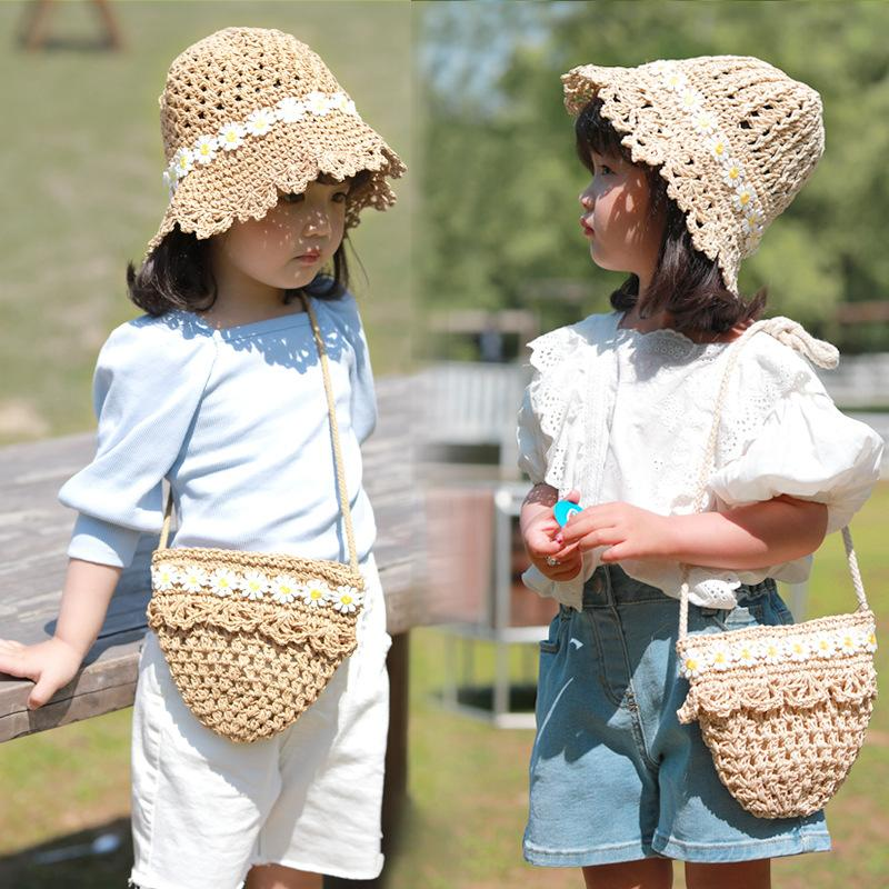 2020 New Style Fashion Flower Straw Hat + Straw Bag for Children Outdoor Travel Sun Hat Casual Cap Fashion Hats