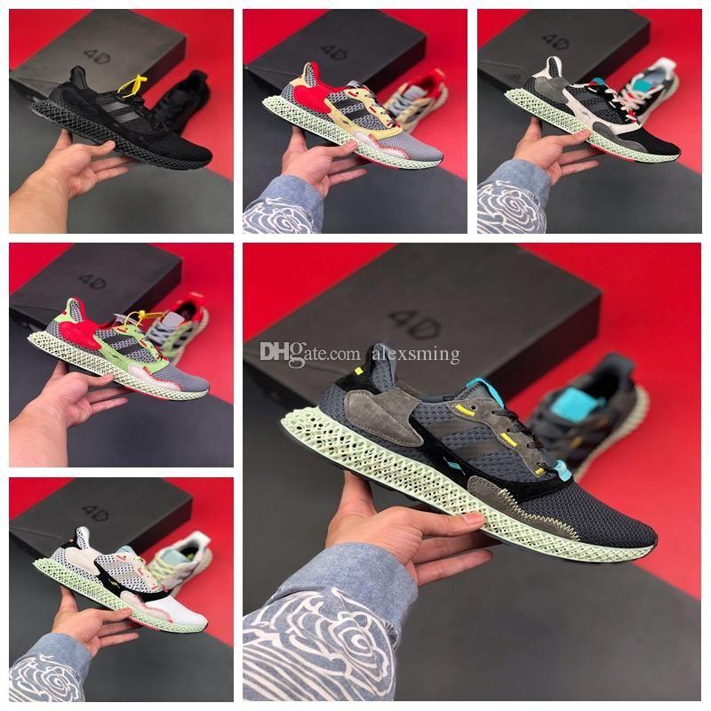 adidas ZX4000 ZX 4000 4D 2019 NOUVEAU Hot gros ZX 4000 Futurecraft 4D Hommes Chaussures de course Hommes Femmes Consortium ZX4000 Blanc Gris 4D Entraîneur Chaussures de sport 36-45