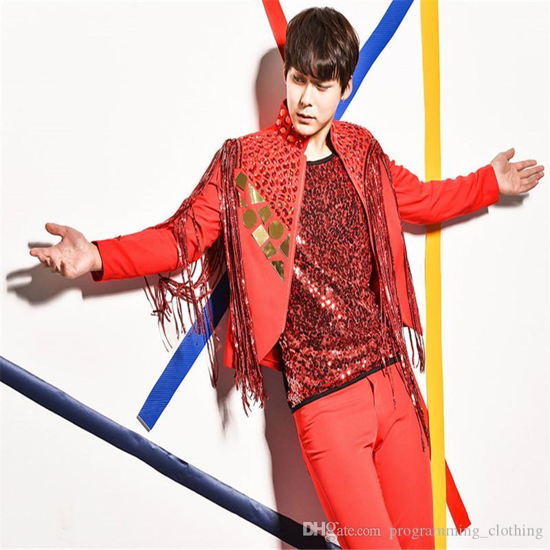 R62 красный блесток диджей костюм бальные танцы костюмы вечеринка носит модель пиджак бар жилет клуб брюки певица футболка шоу одежда куртка дискотека
