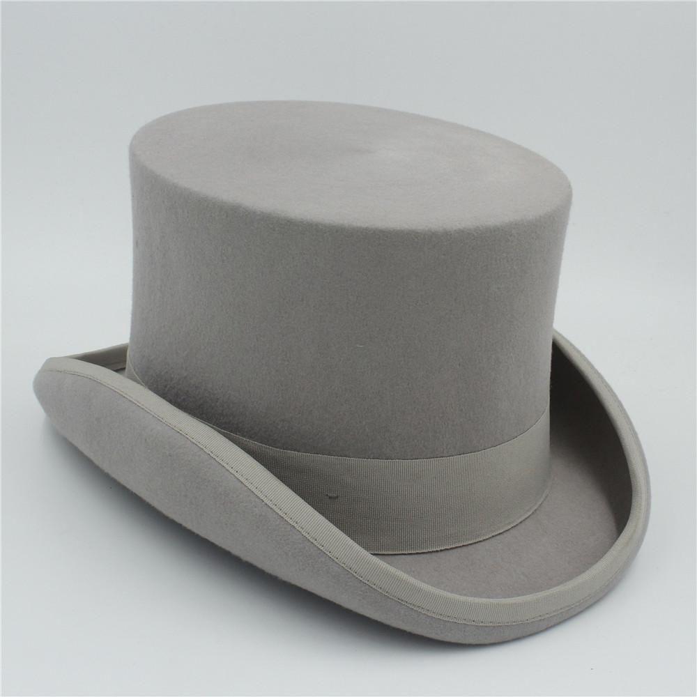 15cm (5.89Inch) 100% laine Sherlock Holmes Steampunk Hat Femmes Hommes Fedora Président magie Top Hat Noir Gris Rouge Blanc qotUN