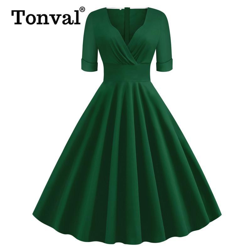 Tonval Yeşil Katı Rockabilly 1950'lerde eski Dantelli V Yaka Şık Parti Elbise Kadınlar 2020 Yaz Yarım Kol A Hattı Elbiseler