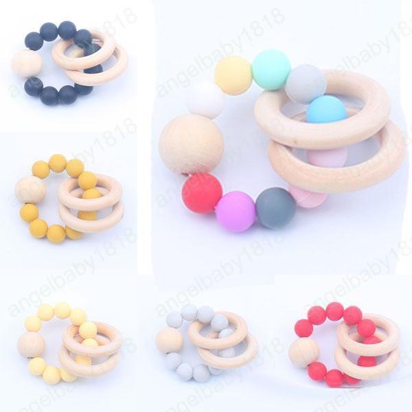 Bebé de madera natural de Teethers juguetes de silicona Mordedor sonajero Accesorios Heath infantil dedos Ejercicio anillo de dentición colorido juego juguetes