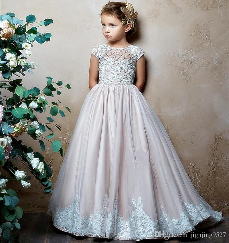 b19c57be7d6 ... Holy Communion Dresses Ball Gown Lace Back Button Solid O-neck Flower  Girl Dresses Vestido ...