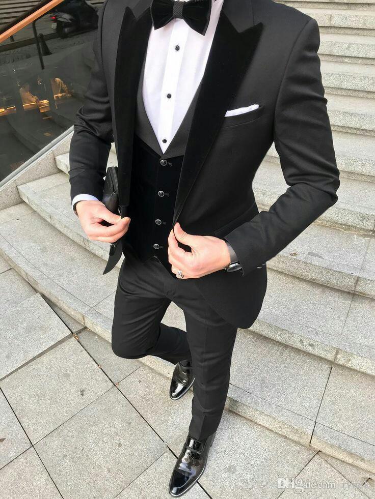 Latest Design Black Groom Tuxedos Men wedding Suits Velevt Peaked Lapel Man Blazer Jacket Three-Piece Groomsmen Wear Evening Prom Party