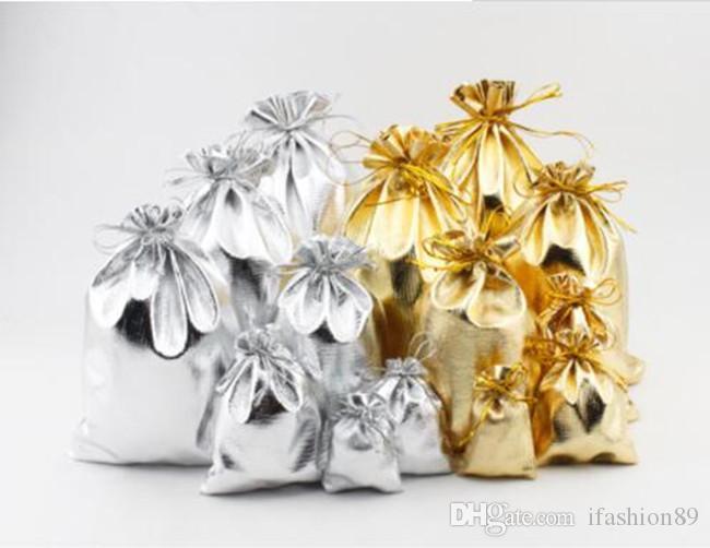 Новый 4sizes мода золото посеребренные марлевые атласные ювелирные изделия сумки ювелирные изделия Рождественский подарок сумки мешок 5x7cm 7X9cm 9x12cm 13x18cm