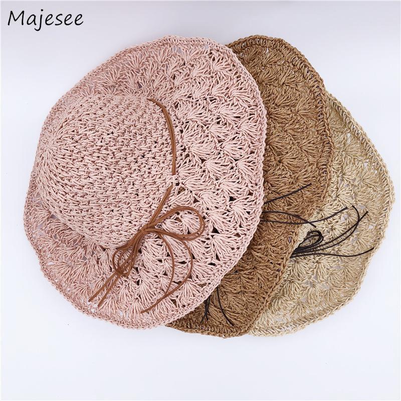 Sombreros del cubo del sombrero de las mujeres de la sombrilla de playa para señoras de paja al aire libre plegable sólido ocasional de la bóveda de las mujeres Todo-fósforo de moda estilo coreano