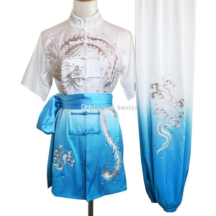 Китайский ушу равномерная кунгфу одежда Боевые искусства костюм таолу наряд Обычной костюм Performance для мужчин женщин детей мальчик девочка дети взрослых