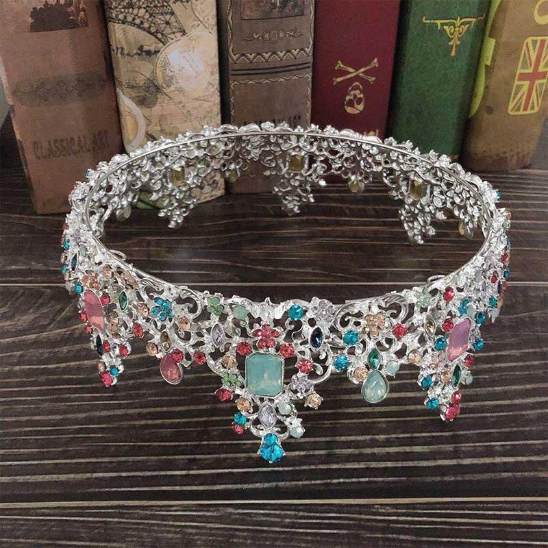 Il nuovo modo colorato Grande Jewelry cristallo brillante Diademi e corone principessa Pageant rotonda Diadem sposa Noiva capelli da sposa