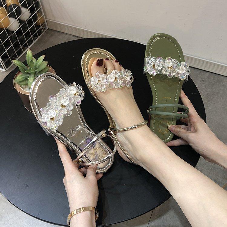 Le nuove donne di cristallo di estate sandali argento glitter oro piatto morbido Bling Female scarpe outdoor signore diapositive Hot Beach