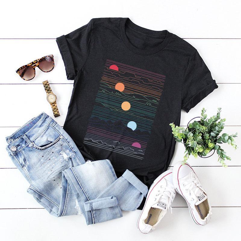 T-shirt do T-shirt do projeto de Mulheres Verão Top Mulheres Geometric Criativo Moda de Nova algodão de manga curta