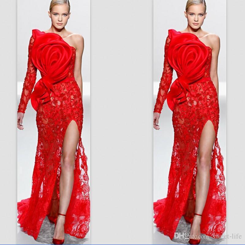 Incroyable Design Une seule épaule manches Rouge Dentelle Fleur Applique avant divisée soirée Robes de bal Party Celebrity Robes 2020 d'Elie Saab