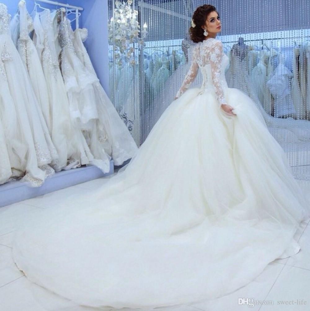 2020 moderna gioiello collo maniche lunghe in pizzo Appliques Abiti da sposa lungo Abiti da sposa Vestiti de mariée vestito convenzionale Sposa