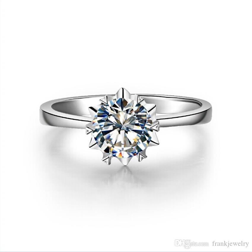 Created By C&C Certified 1Ct 6.5mm G-H Moissanite Marriage Ring S925 Silver Ring White Gold Color Wedding Jewelry