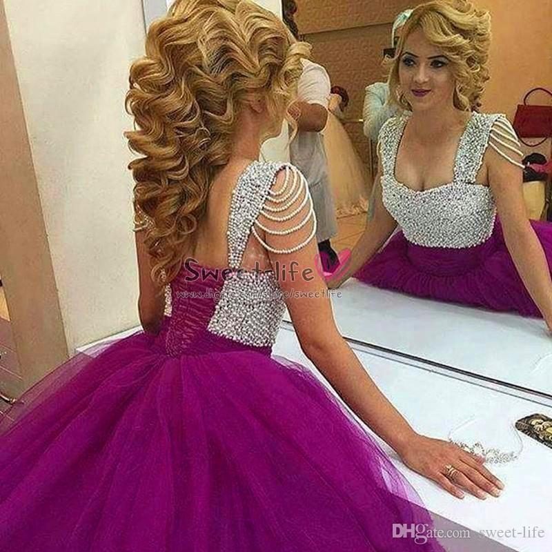 2020 Fucsia lusso elegante che borda la sera Quinceanera perle maniche del partito di Tulle indossare una linea Prom Dress abito di sfera