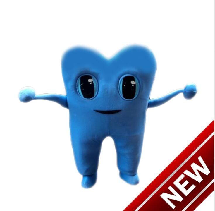Personnalisé professionnel Bleu Dent Costume De Mascotte De Bande Dessinée clinique dentaire publicité personnage publicité Vêtements Halloween festival Fête Robe