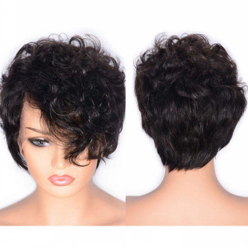 Curly Kurze Spitze Perücke Brasilianische Reine Echthaar Lace Front Perücke Natürliche Farbe Side Part Perücken Gebleichte Knoten