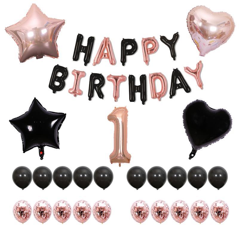 Rose Gold Star Confetti Filled Balloon Helium Birthday Party Wedding Decoration