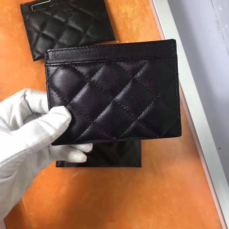 scatola di cuoio camelliawith fessura interna in pelle di agnello nero mini raccoglitore della borsa della moneta tasca 2020 Nuovo supporto Card Designer supporto uomini e le donne della carta