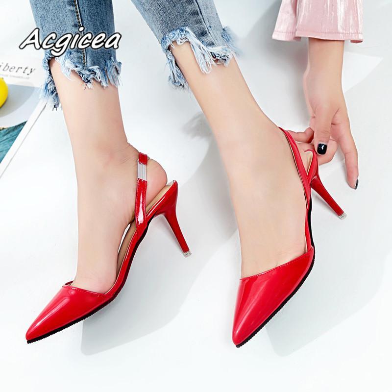 2019 femininos de verão sandálias de dedo Pointed salto alto Nude ponta de cor com fina 7 centímetros com saltos altos Bombas Zapatos Mujer F026 Y200113