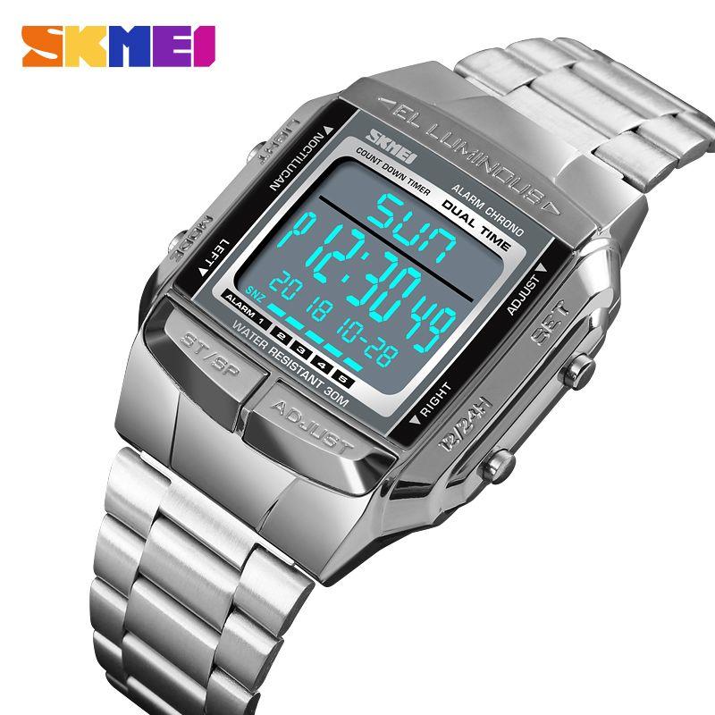 SKMEI Sports Watch Men Digital Rights Watch Relógio de contagem regressiva do relógio Grande Dial Vidro Espelho Relógio Moda exterior Relogio Masculino