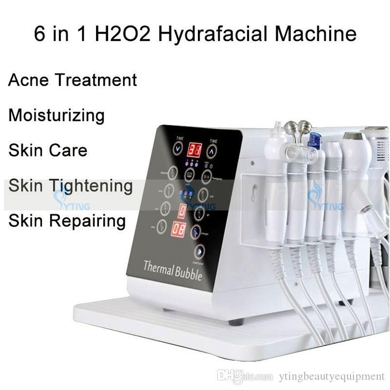 I più nuovi 6 in 1 H2O2 acqua dermoabrasione Aqua Peel macchina Hydro dermoabrasione BIO pelle sollevamento ringiovanimento della pelle pulizia del viso Cura Spa