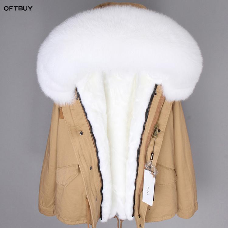 OFTBUY 2019 Winter Jacket Women big Real Fur Coat Parka red Fur collar faux liner Camouflage pink short coat fashion new