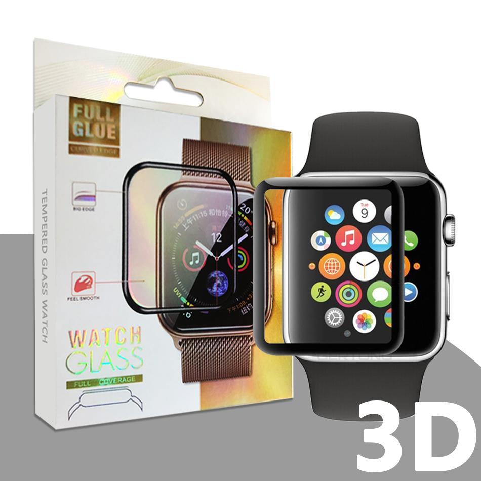 애플 시계 3D 곡선 전체 접착제 강화 유리 화면 보호기 42mm 38mm의 40mm에서 44mm iWatch 시리즈 1 / 2 / 3/4 안티 - 스크래치 버블 - 무료
