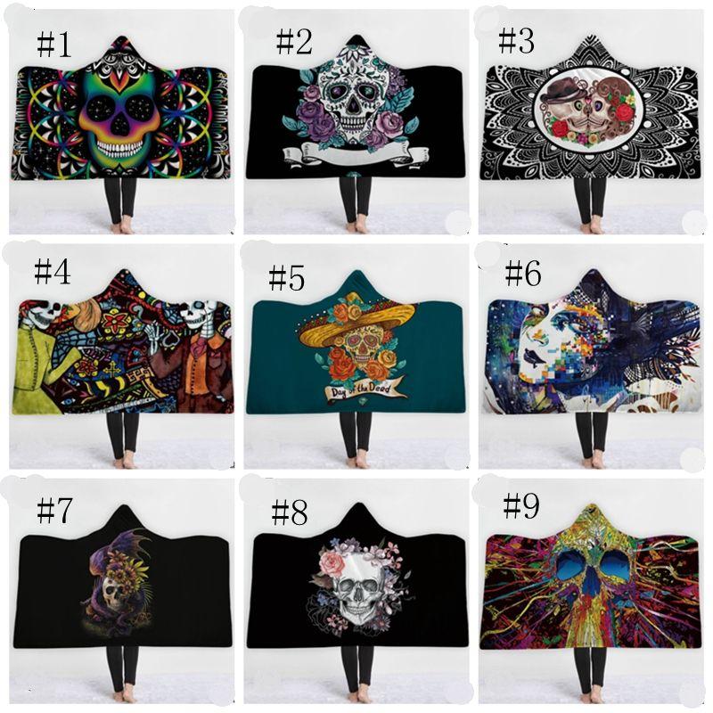 Skull Hooded Blankets Thicken Fleece Blankets Winter Throw Blanket Colored Skull Sherpa Blanket Halloween Towel 13 Designs 5pcs DSL-YW1647