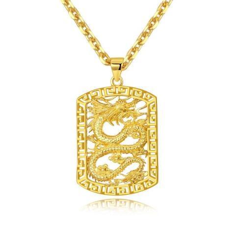 Golden Hollowing Drachen Anhänger Rock Anhänger Halsketten Männer Hip Hop Link Kette Halskette