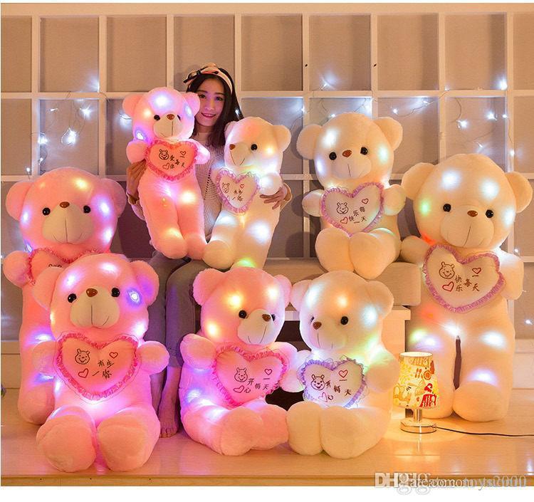 Coloré LED Flash Light Bear Poupée En Peluche Peluches Taille 50-160 cm Ours Cadeau Pour Enfants Cadeau De Noël En Peluche Peluche jouet